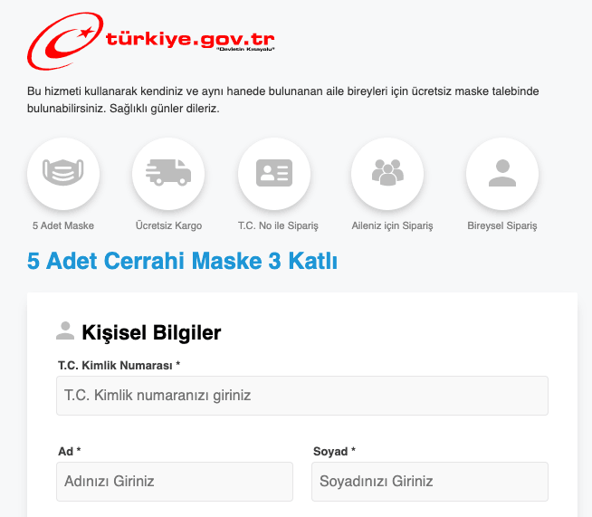 E devlet maske başvuru ekranı