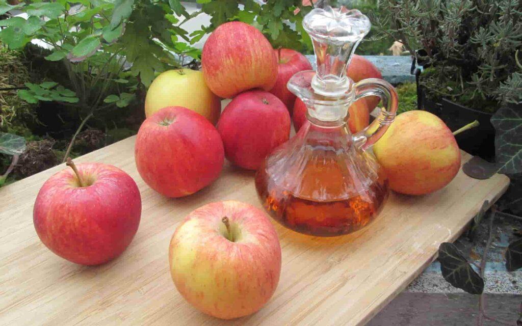 elma sirkesi ve kırmızı elmalar
